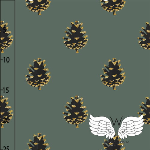 Tela Jersey Pinecones Dark Green Wcollection