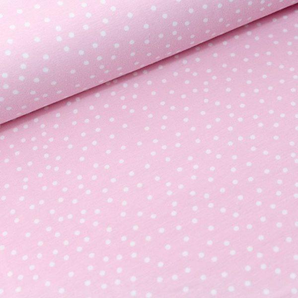 Tela jersey puntos rosa