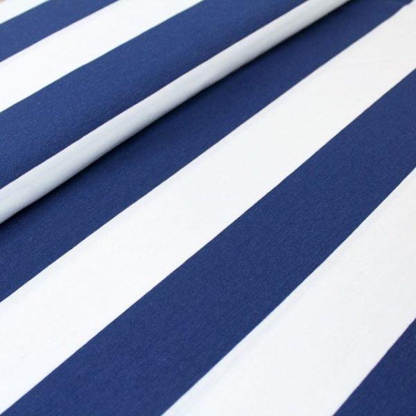 Tela jersey rayas azul marino