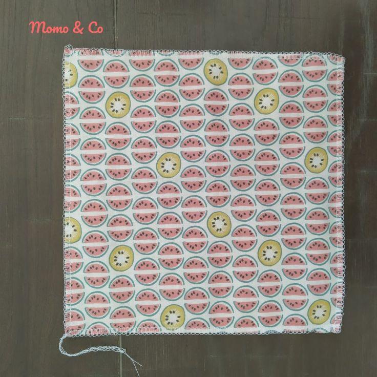 Las dos telas cosidas por los cuatro lados