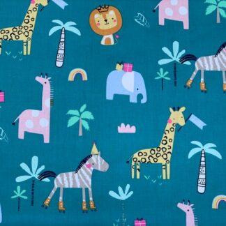 Tela algodón animales safari