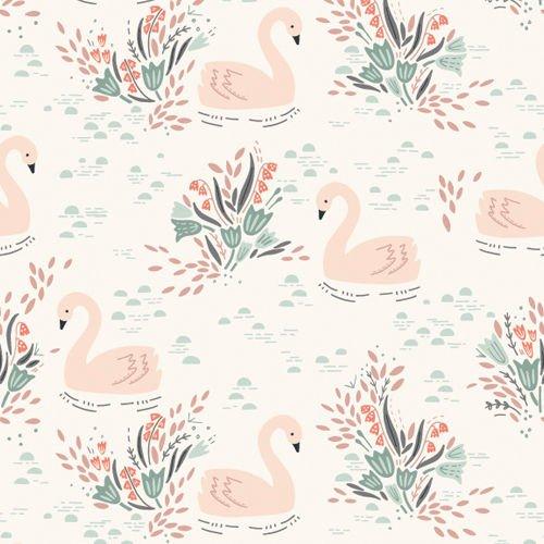Tela algodón Cisnes en blanco de Dashwood Studio