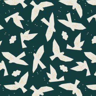 Tela algodón y lino Midnight Garden Pájaros