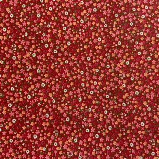 Tela algodón Flores sobre rojo