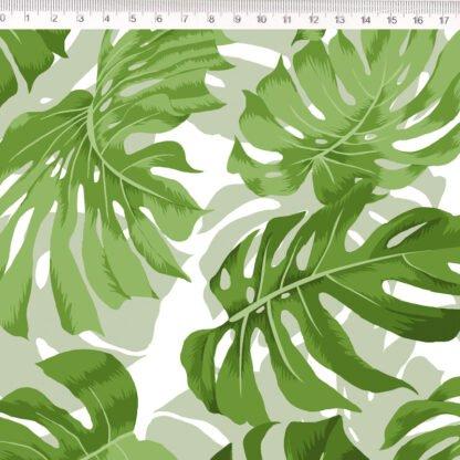 Tela algodón hojas