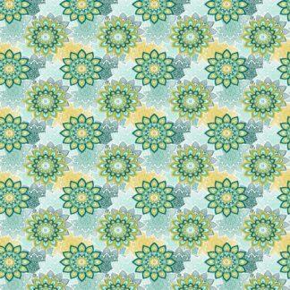 Tela algodón mandala verde