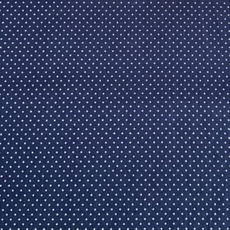 Tela algodón topitos azul marino
