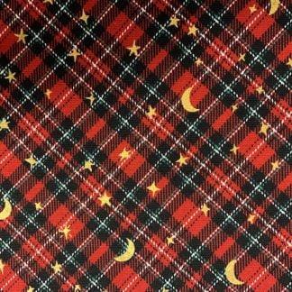 Tela algodón japonesa cuadros rojo navidad