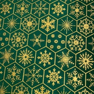 Tela algodón navida copitos nieve en verde