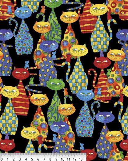 Tela algodón Gatos Multicolor