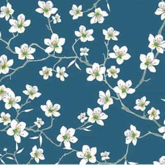 Tela algodón flores blancas sobre azul