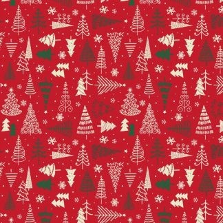 Tela algodón árboles navidad en rojo