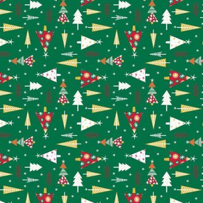 Tela algodón árboles navidad en verde