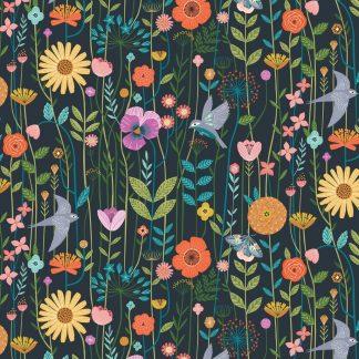 Tela algodón flores y pájaros sobre gris Dashwood Studio