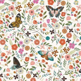 Tela algodón mariposas en blanco Dashwood Studio
