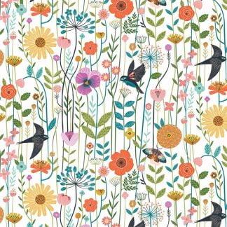 Tela algodón pájaros y flores Dashwood