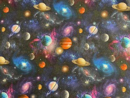 Tela algodón planetas en negro