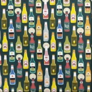 Tela algodón botellas cervezas