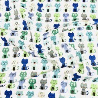 Tela algodón gatos sonrientes azul