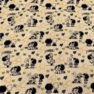 Tela algodón Mafalda corazones