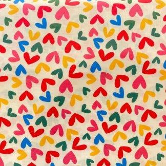 Tela algodón corazones de colores
