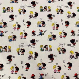 Tela algodón Mafalda Amigos