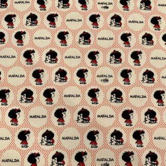 Tela algodón orgánico Mafalda topos rojos