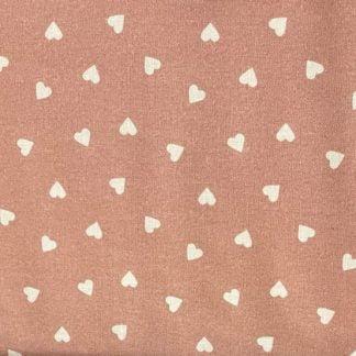 Tela algodón orgánico corazones rosa