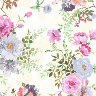 Tela algodón Garden Roses en blanco de Windham Fabrics